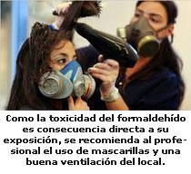 Realización de tratamientos con formol y marcarilla de ventilación