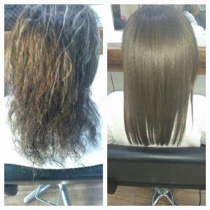 cabello con alisado keratina